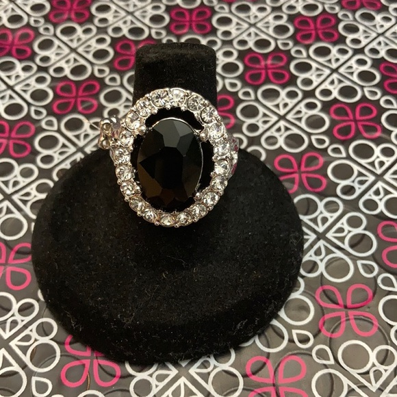 Silver ring with black stone and rhinestones